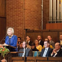 Sister Mary G. Cook, wife of Elder Quentin L. Cook of the Quorum of the Twelve Apostles for The Church of Jesus Christ of Latter-day Saints, speaks to young adults on Sept. 11, 2016. The meeting, which originated in the LDS Church's Washington D.C. Stake Center, was translated and broadcast across the globe.