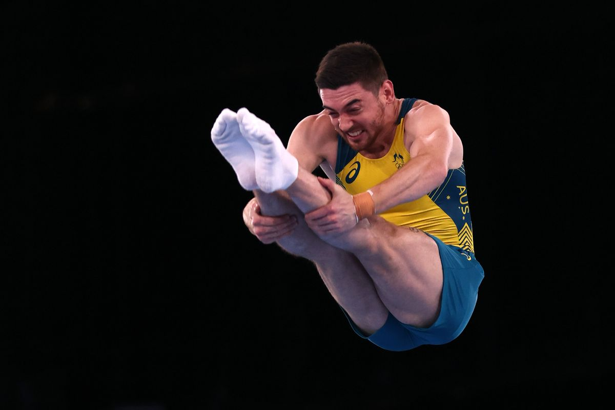 Dominic Clarke performs at the Olympics.