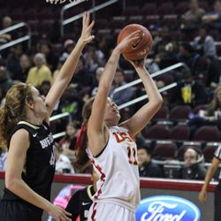 Cassie Harberts scores. She had 19 points.