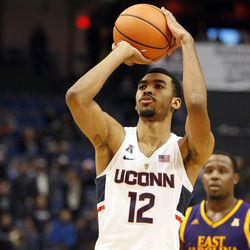 The ECU Pirates take on the UConn Huskies in a men's college basketball game at the XL Center in Hartford, CT on January 6, 2018.