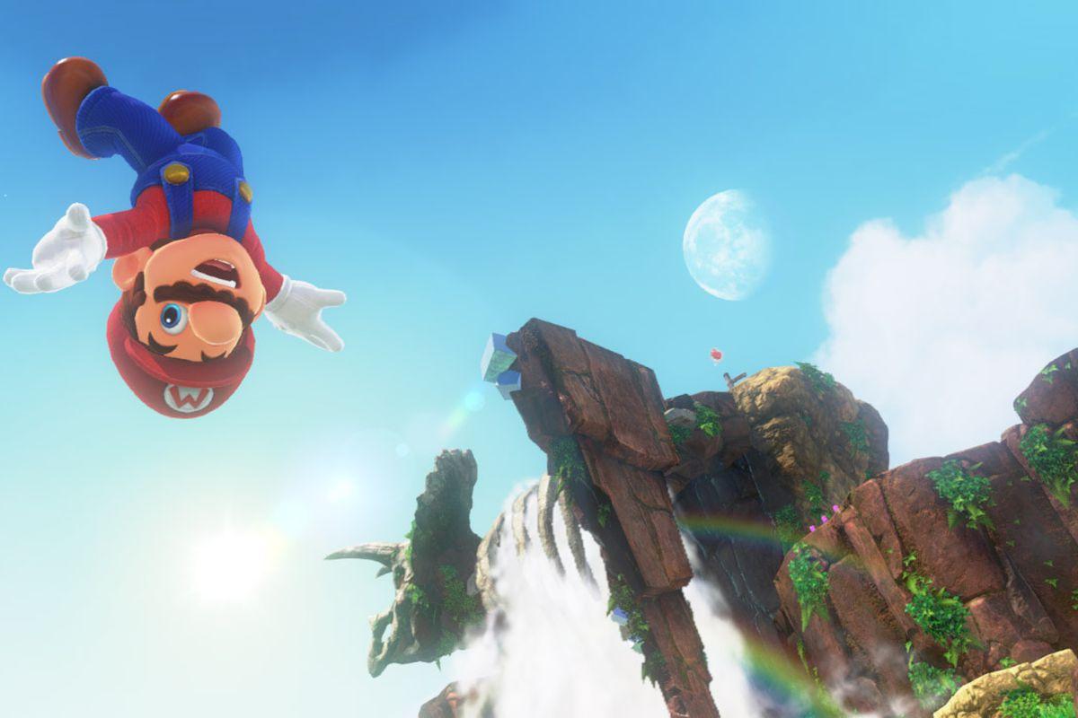 Super Mario Odyssey - Mario jumping upside down