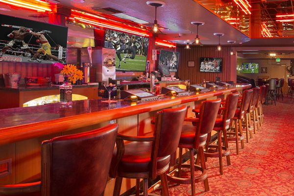Interior bar with red lighting