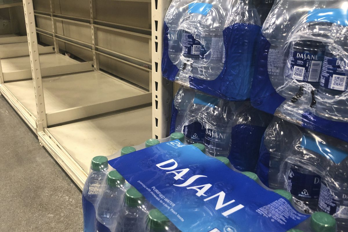 Bottle water for sale in a store.