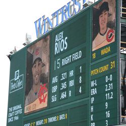 1:45 p.m. Throwback display on the left-field video board -