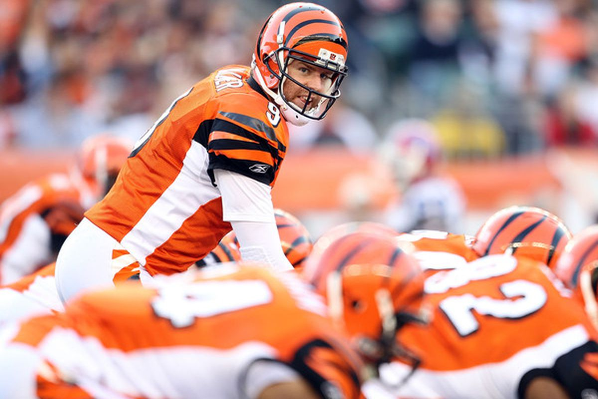 CINCINNATI - NOVEMBER 21:  Carson Palmer #9 of the Cincinnati Bengals gives instructions to his team during the Bengals 49-31 loss to the Buffalo Bills at Paul Brown Stadium on November 21 2010 in Cincinnati Ohio.  (Photo by Andy Lyons/Getty Images)