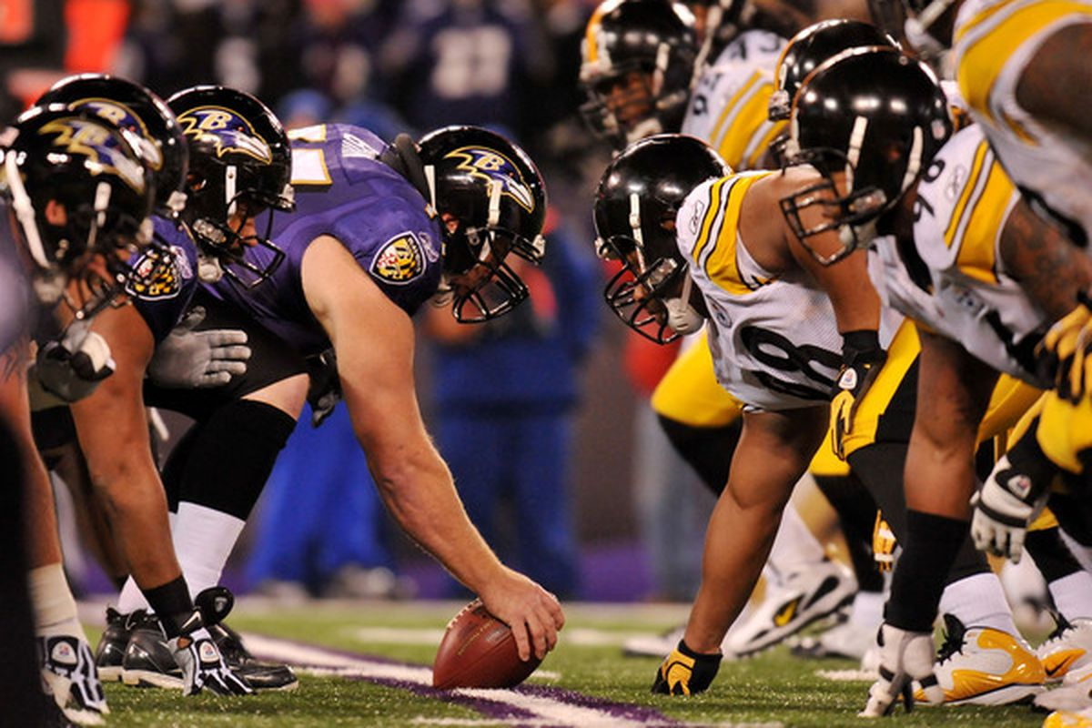 BALTIMORE MD - DECEMBER 05:  Matt Birk #77 of the Baltimore Ravens prepares to snap the ball against the Pittsburgh Steelers at M&T Bank Stadium on December 5 2010 in Baltimore Maryland. Pittsburgh won 13-10.  (Photo by Larry French/Getty Images)