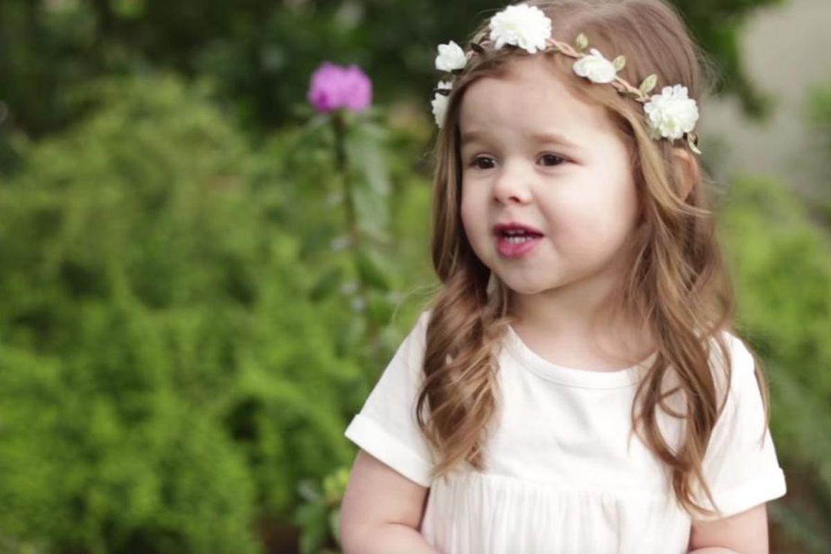 """Claire Crosby, 3, sings """"Gethsemane."""""""