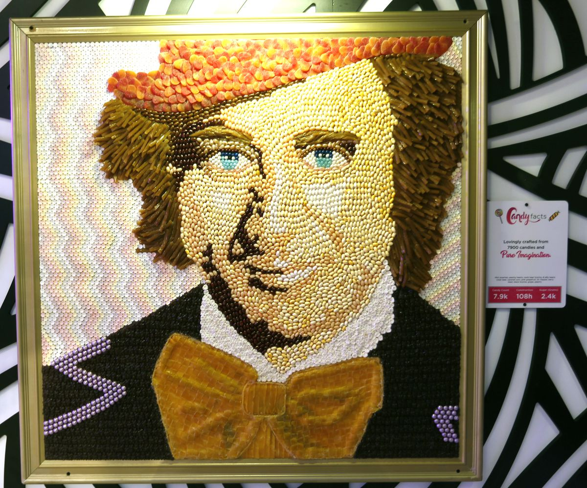 portrait of willy wonka made out of candy