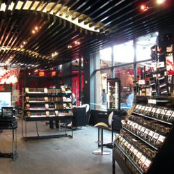 """The ceiling art reflects Sephora's """"piano key"""" branding, as well as the flame logo."""