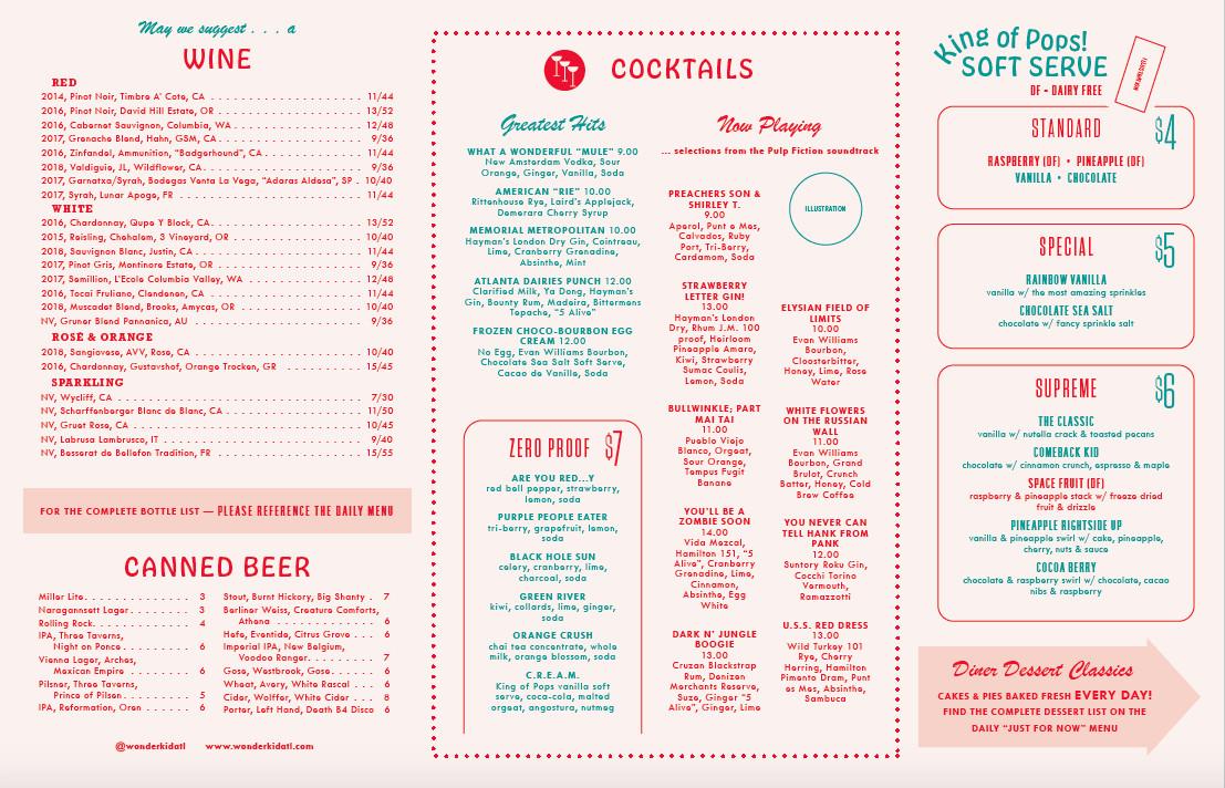 Beverage and ice cream menu