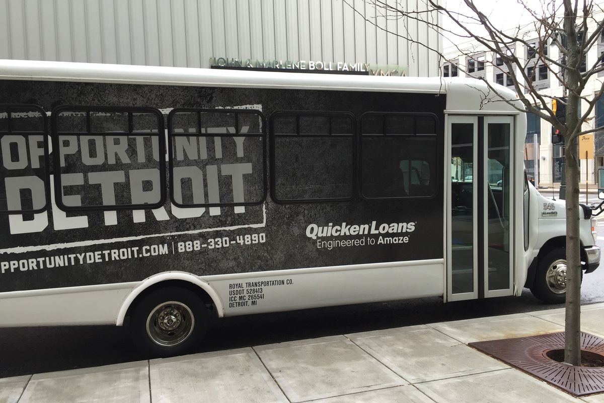 """Detroit's equivalent of the Google Bus shuttles Quicken Loans """"team members"""" around town."""