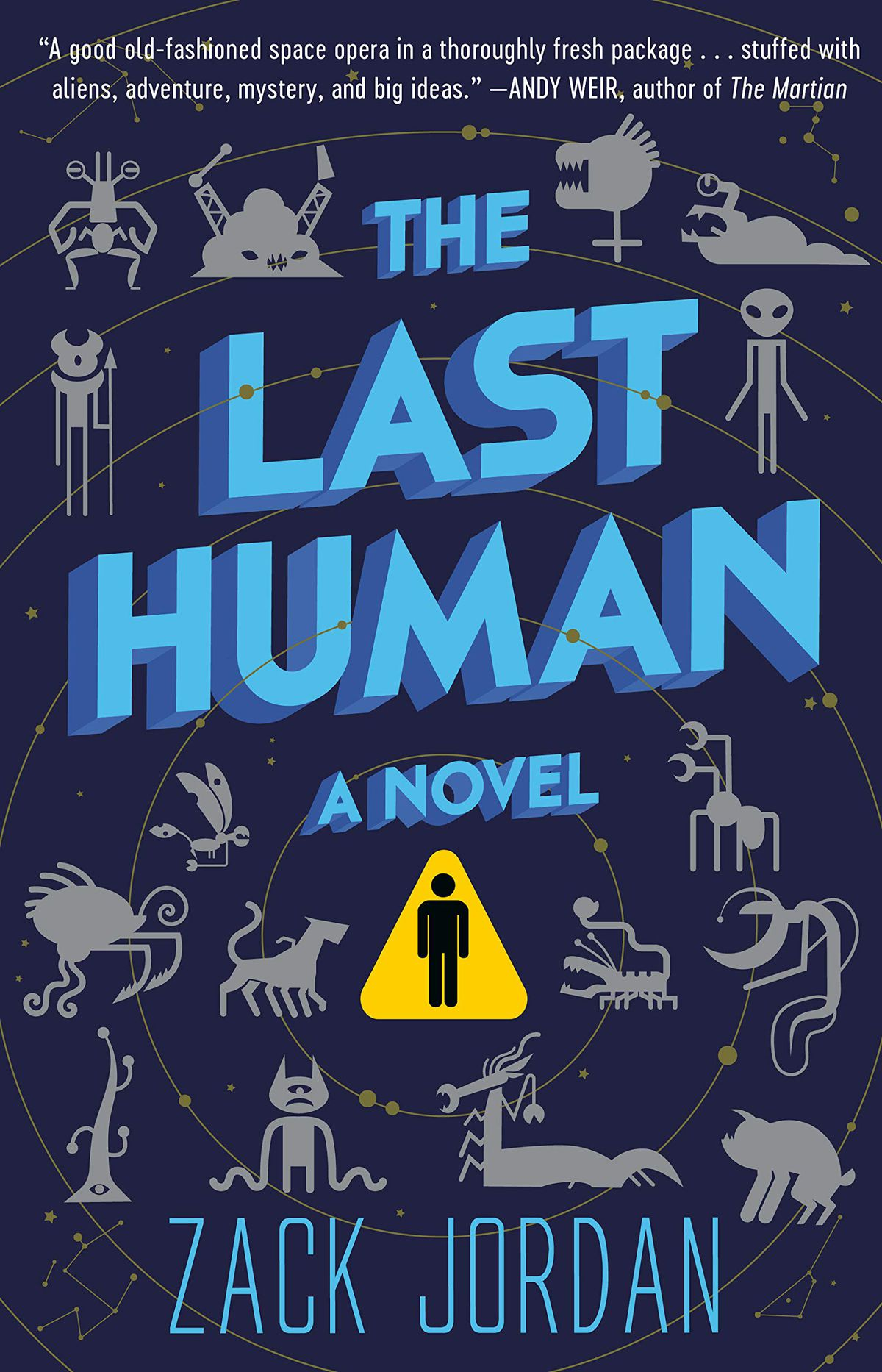 lots of alien creatures populate the cover of the last human