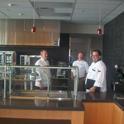 Chefs look over new kitchen