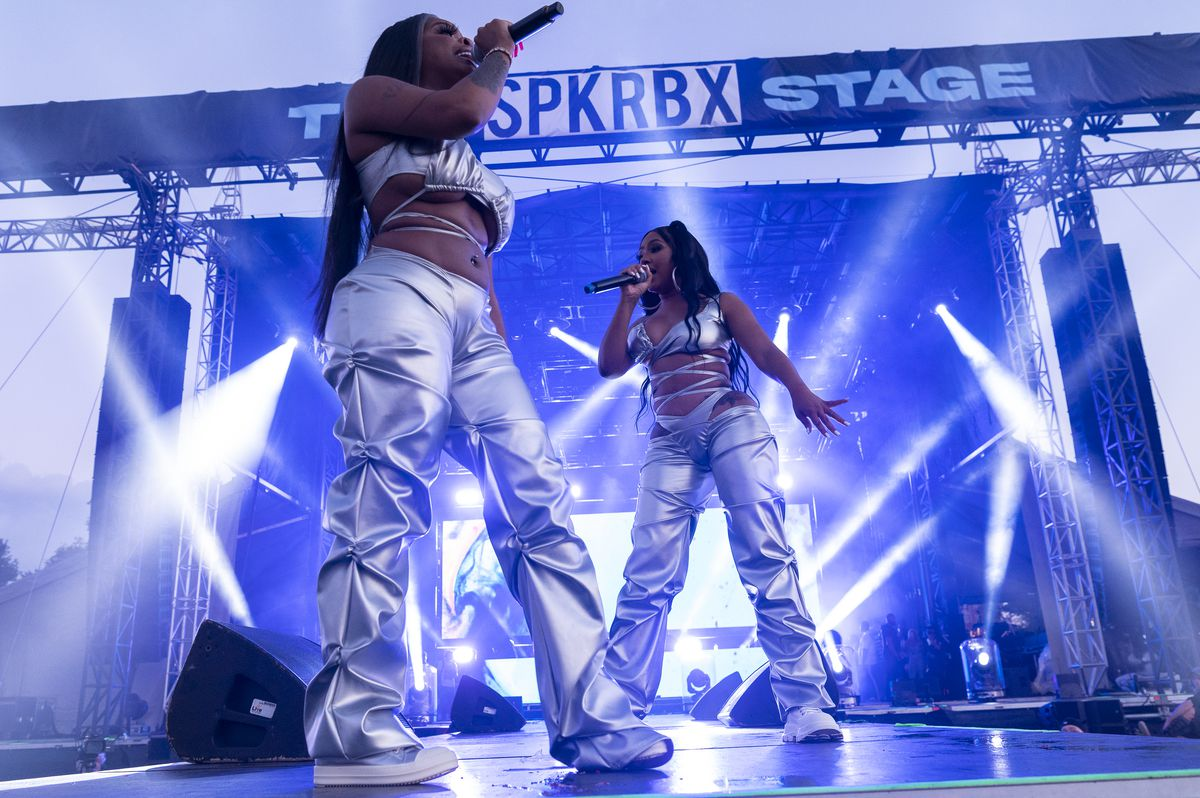 City Girls performs on day two of the Summer Smash Festival.