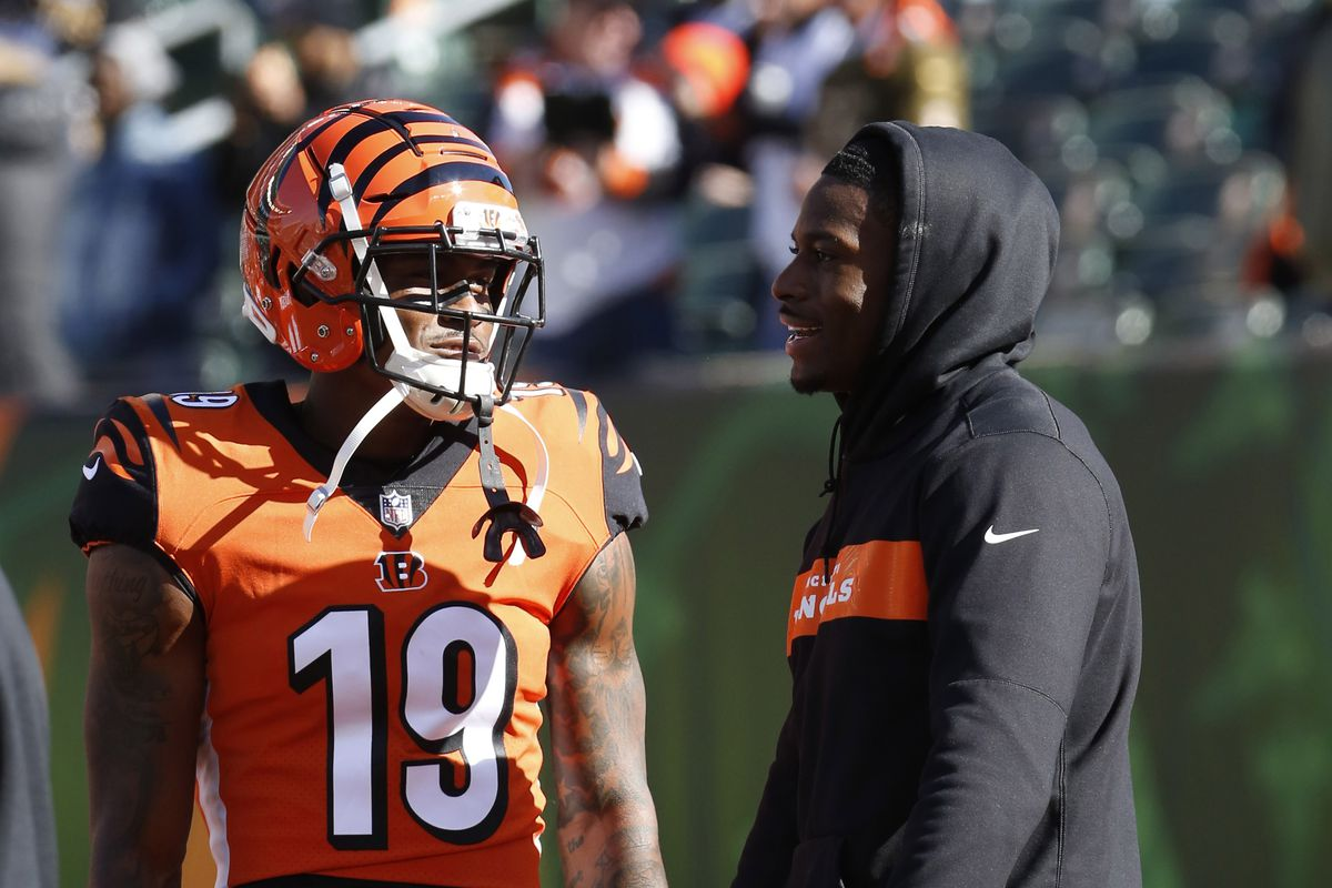 Cincinnati Bengals wide receiver A.J. Green talks with wide receiver Auden Tate prior to a game against the New Orleans Saints at Paul Brown Stadium.