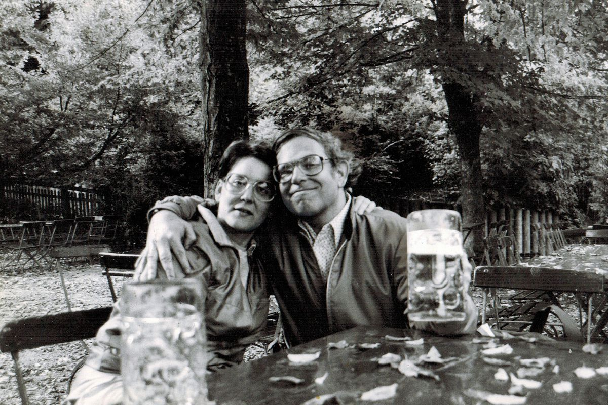 Marvin Weinstein and his wife, Virginia Van Vynckt take a break from a bicycle trip through Bavaria in 1988.