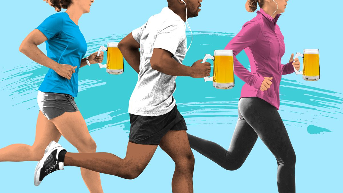 Three runners jogging while holding full beer steins
