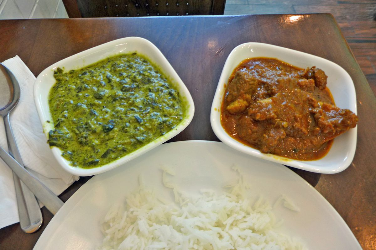 Goat curry and saag (palak) paneer