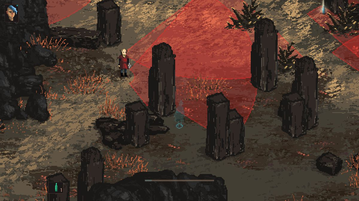 Death Trash - the protagonist hides behind a stone pillar while avoiding her enemies, whose view is represented by red radial cones.