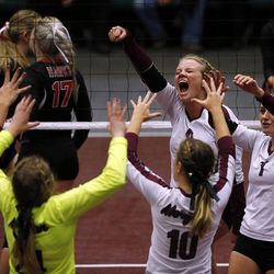 Morgan celebrates a point against North Sanpete during the girls 3A high school volleyball state championship game in Orem on Thursday, Oct. 26, 2017.
