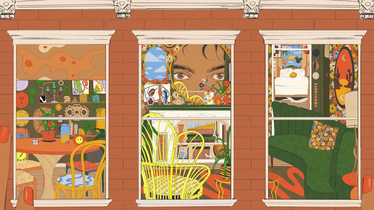 An illustration of a  woman peering into a dollhouse decorated in Maximalist design style.