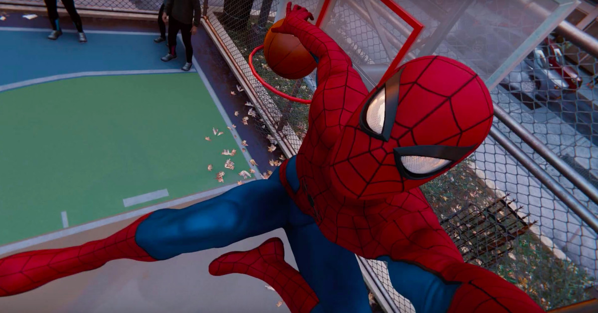 Spider-Man fan tries slinging basketball into hoop, nearly breaks game