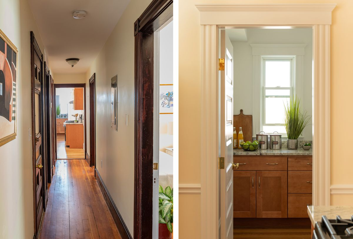 Fall 2021, Dorchester reveal, 2nd floor hallway and pantry door