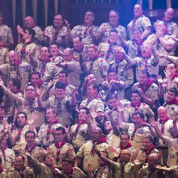 Scouts perform as thousands of scouts and their leaders assemble Tuesday, Oct. 29, 2013 in the Conference Center in Salt Lake City to celebrate a century of honor.