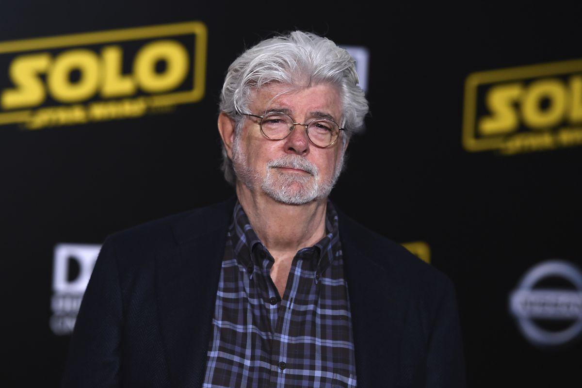 """George Lucas arrives at the premiere of """"Solo: A Star Wars Story"""" at El Capitan Theatre on Thursday, May 10, 2018, in Los Angeles."""