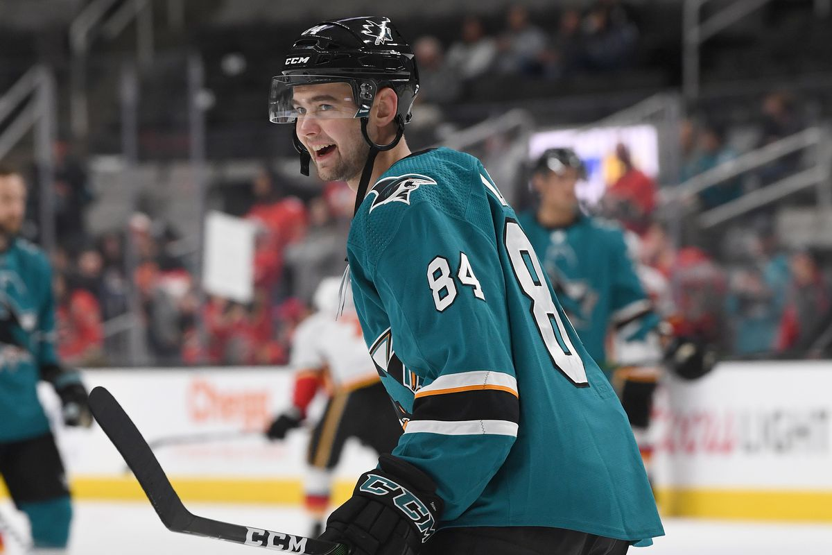 Maxim Letunov #84 of the San Jose Sharks warms up in pregame warm ups prior to the start of an NHL hockey game against the Calgary Flames at SAP Center on February 10, 2020 in San Jose, California.