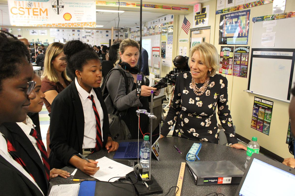 U.S. Education Secretary Betsy DeVos visited a high school engineering classroom at a charter school in Detroit on Friday, Sept. 20, 2019.