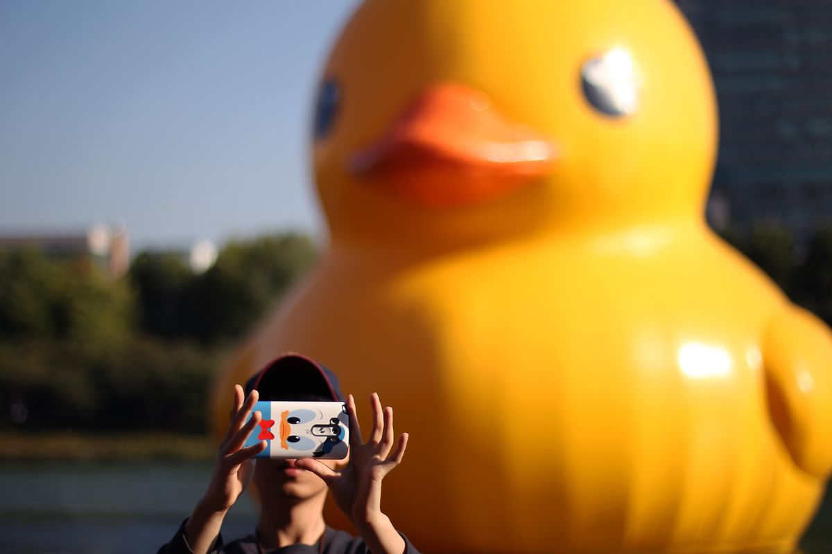 Giant Yellow Rubber Duck Exhibited In Seoul