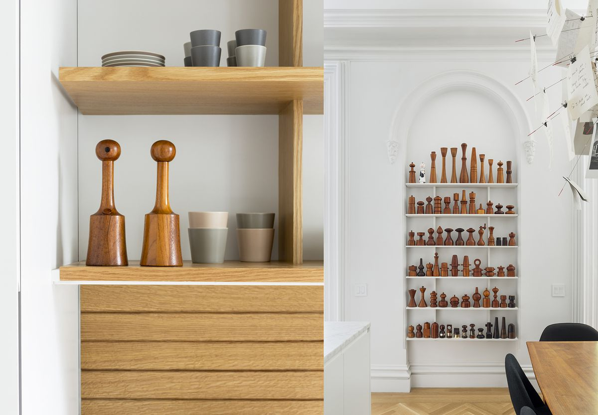 """The collection of Jens Quistgaard pepper mills are, according to Katie, """"all Brent's, but I've grown to love them."""" The couple's everyday grinders (left), were made by Richard Nissen, whose company crafted all the early Quistgaard mills."""