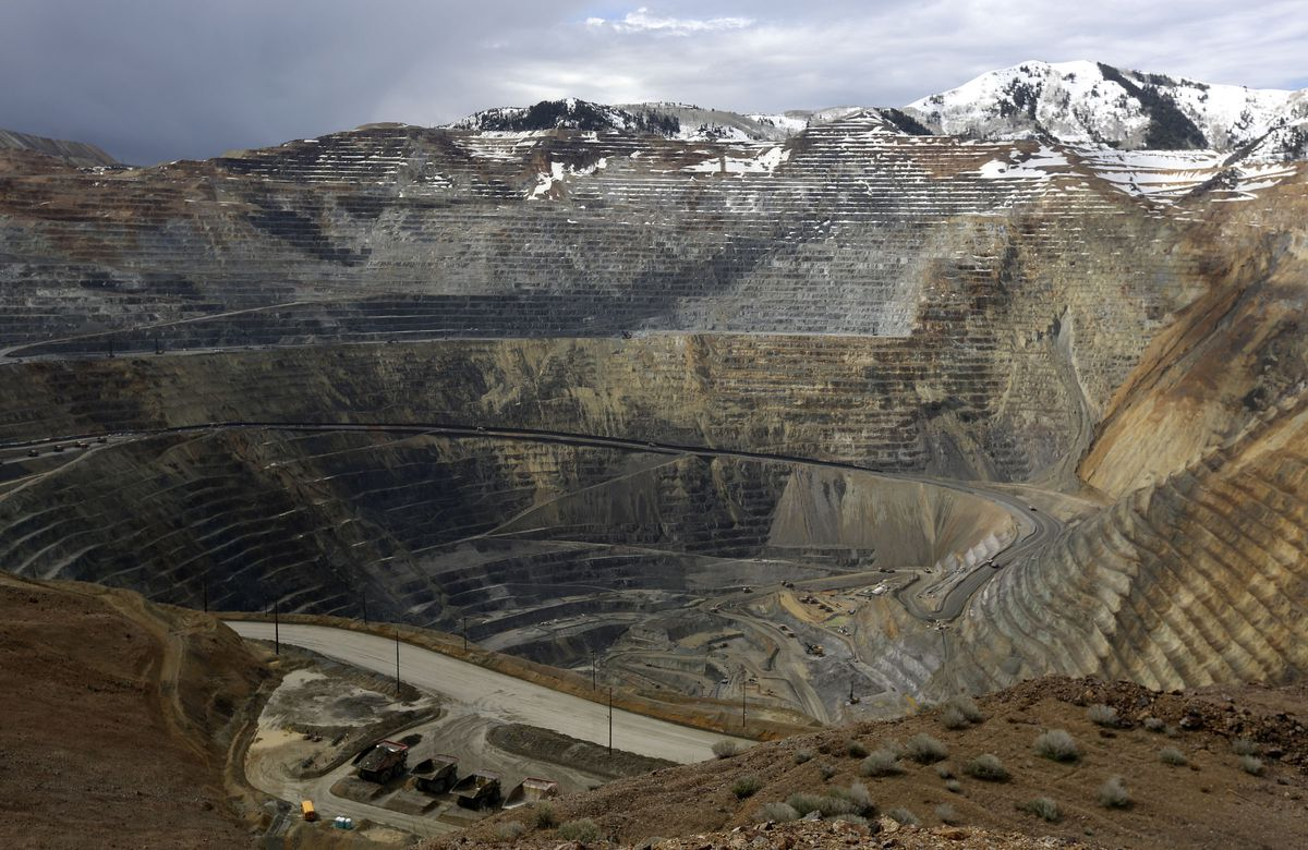 The Bingham Canyon Mine is seen from the overlook at the new Rio Tinto Kennecott Visitor Experience on Friday, April 26, 2019.