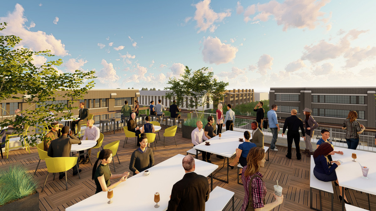 A rendering shows how the rest of the community would be visible from the rooftop deck.