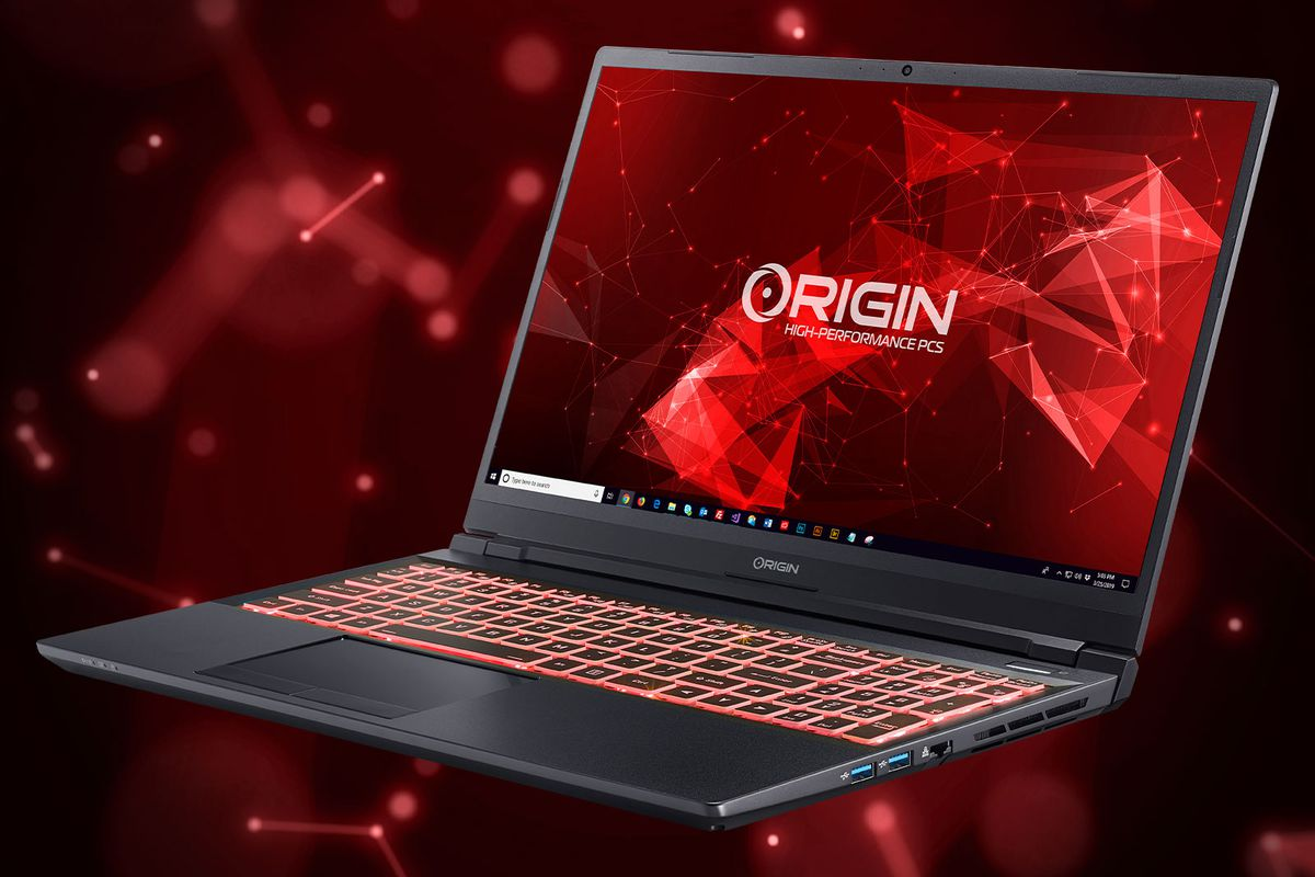 The Origin EVO15-S angled to the left, open, on a red and black background. The screen displays the Origin logo.