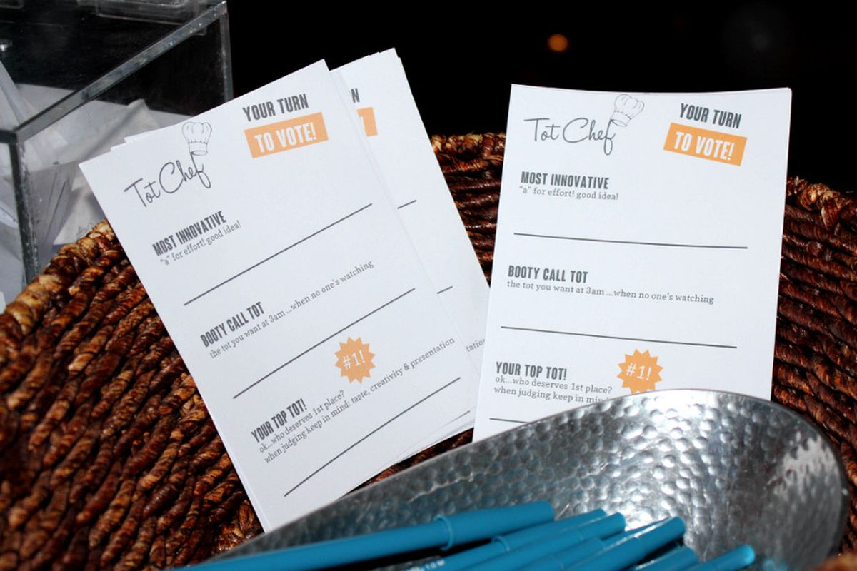 Ballots at last year's Tot Chef competition.