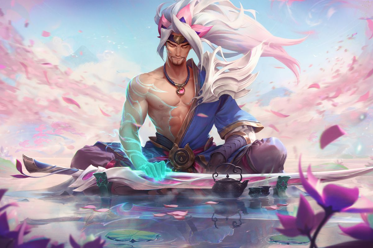 Spirit Blossom Yasuo from League of Legends rests on a pool of water