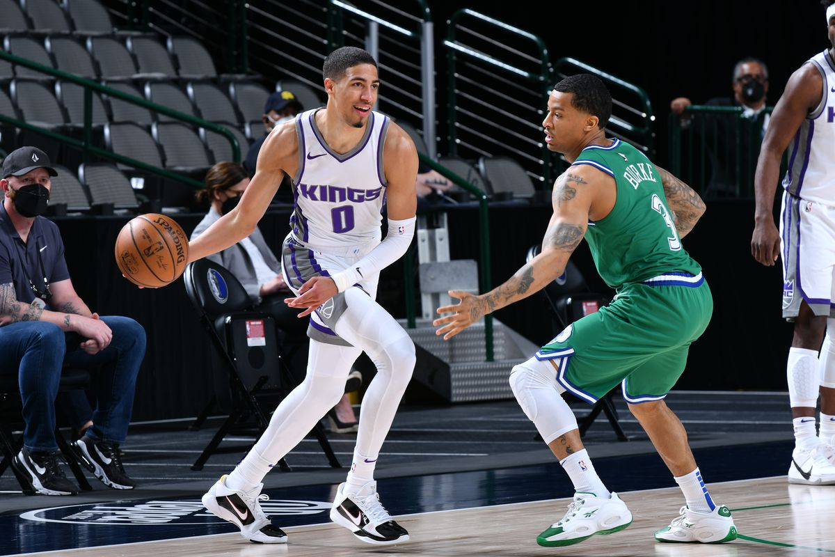 Tyrese Haliburton of the Sacramento Kings handles the ball during the game against the Dallas Mavericks on May 2, 2021 at the American Airlines Center in Dallas, Texas.