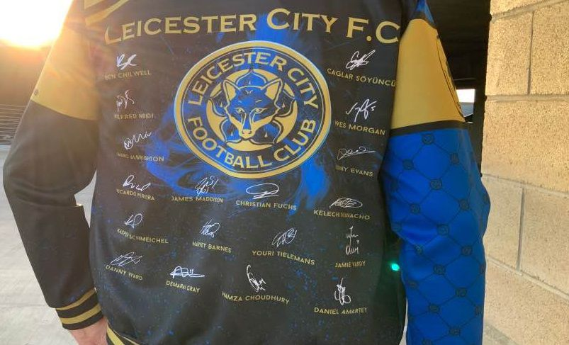 Close up of the back of the jacket featuring the signatures of all of the players.