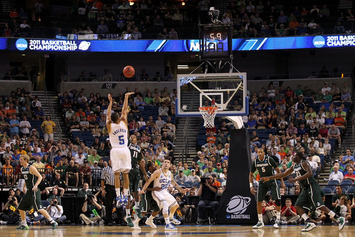 Jerime Anderson #5 led the Bruins in 3 point FG % and his play off the bench was a key reason UCLA made it to the NCAA Tourney last season.  (Photo by Mike Ehrmann/Getty Images)
