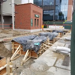 Construction on Waveland outside the left field gate