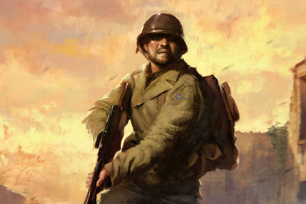 A painting of an American Soldier in WWII.