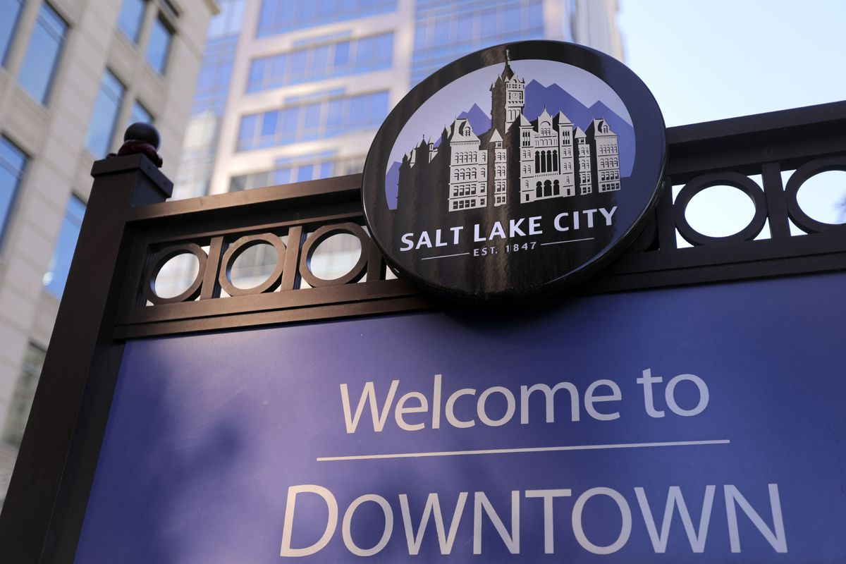A sign welcoming people to downtown Salt Lake City is pictured on Monday, Oct. 12, 2020.