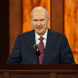 President Russell M. Nelson speaks during the Saturday morning session of the 190th Semiannual General Conference of The Church of Jesus Christ of Latter-day Saints on Oct. 3, 2020.