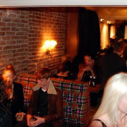 Caught Fiona Byrne in the camera down there at right. Check out the tartan booths at Mary Queen of Scots. Photo: Racked