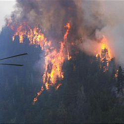A helicopter heads toward the flames of the Mill Flat fire to drop its load of water on Sunday. Eleven structures burned over the weekend, but no injuries have been reported.