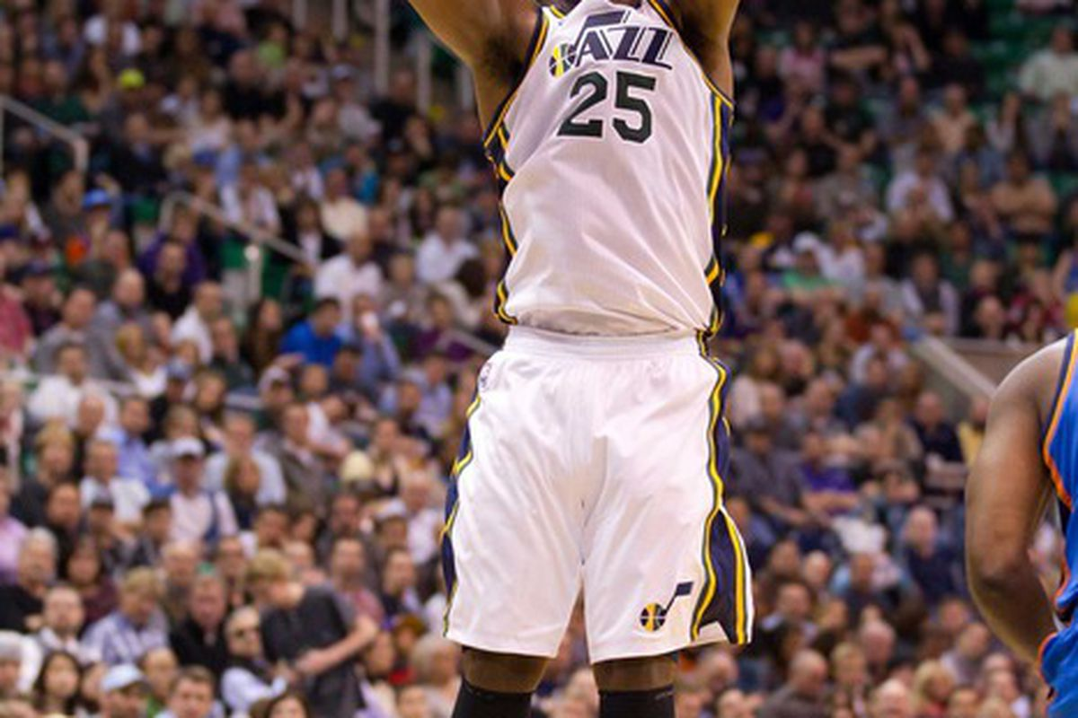 March 20, 2012; Salt Lake City, UT, USA; Utah Jazz center Al Jefferson (25) shoots during the second half against the Oklahoma City Thunder at Energy Solutions Arena. The Jazz defeated the Thunder 97-90. Mandatory Credit: Russ Isabella-US PRESSWIRE