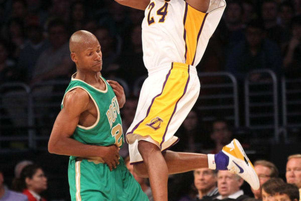 LOS ANGELES, CA - MARCH 11:  Kobe Bryant #24 of the Los Angeles Lakers shoots over Ray Allen #20 of the Boston Celtics at Staples Center on March 11, 2012 in Los Angeles, California.  The Lakers won 97-94.  (Photo by Stephen Dunn/Getty Images)