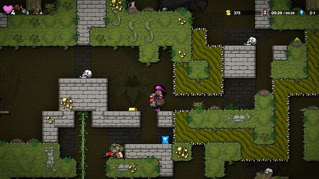 A spelunker rides a turkey in an underground jungle dungeon in a screenshot from Spelunky 2